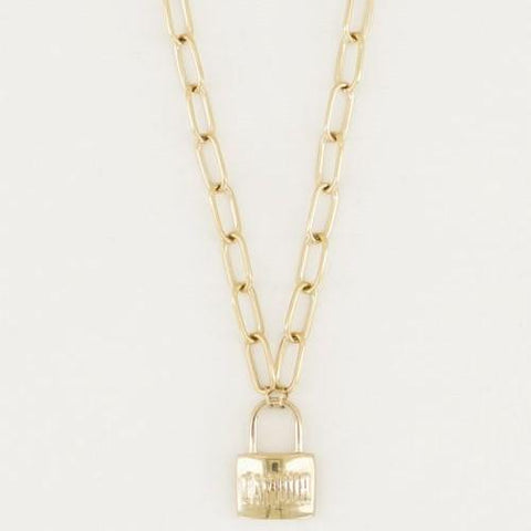 Trendjuwelier Bemelmans - My Jewellery Schakelketting Love Lock Gold Plated