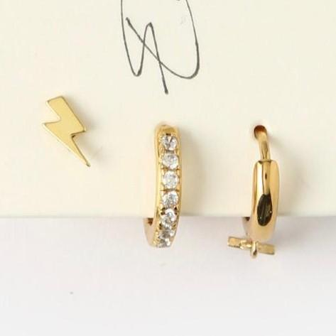 Trendjuwelier Bemelmans - Orelia Lightning & Star Ear Party Goldplated