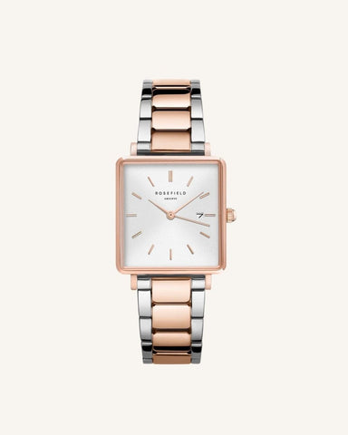 Trendjuwelier Bemelmans - Rosefield The Boxy White Sunray Steel Silver Rose Gold Duo