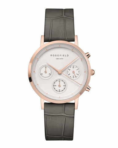 Trendjuwelier Bemelmans - Rosefield The Gabby White Croco Grey Rose Gold