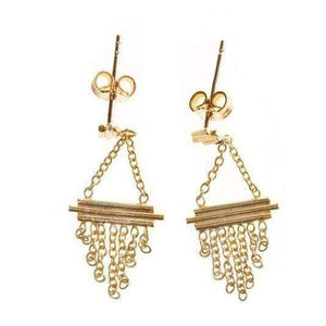 Trendjuwelier Bemelmans - Xzota Earrings Triple Bar Chain Gold Plated