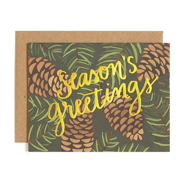 Pinecone Foil Holiday Card