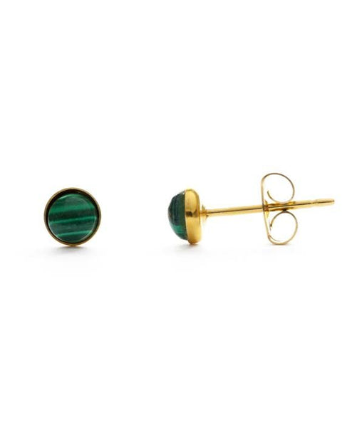Semiprecious Stone Gold Stud Earring