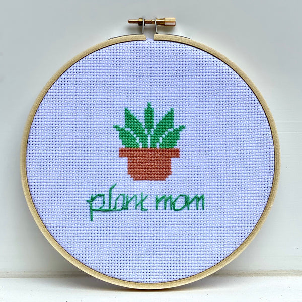 Plant Mom Cross Stitch Embroidery Hoop