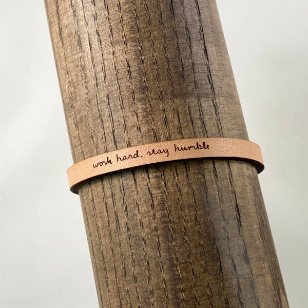 Work Hard, Stay Humble Leather Bracelet