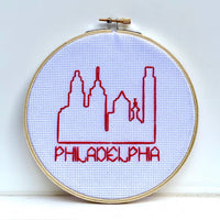 Philadelphia Skyline Cross Stitch Embroidery Hoop