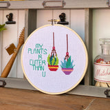 My Plants R Cuter Than You Cross Stitch Embroidery Hoop