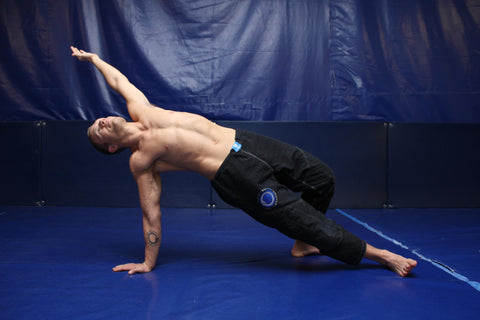 Nicolas Gregoriades practicing yoga