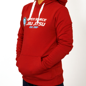 'Open Source Jiu Jitsu' Hooded Sweatshirt (Red)