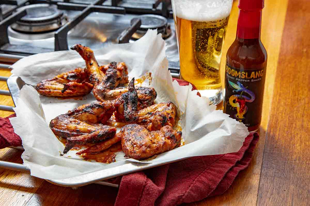 Boomslang and Beer Baked Chicken Wings