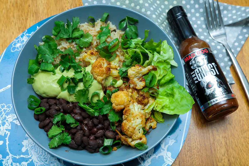 Ghostly Cauliflower Burrito Bowl