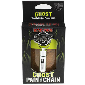 Mad Dog 357 Pain on a Chain Ghost Chili Powder maddog357.com