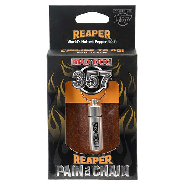 Mad Dog 357 Pain on a Chain Reaper Chili Powder maddog357.com
