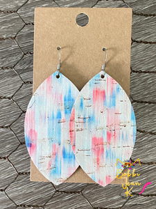 Red, White, & Blue Watercolor Leaf Shape