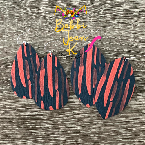 Red & Navy Brushstroke Leather Earrings- Leaf & Teardrop Shape Options