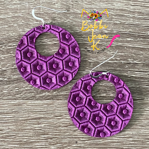 Bright Orchid Purple Honeycomb Hoops- Small & Large Size Options