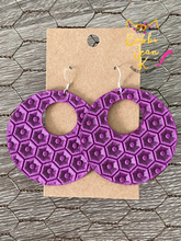 Load image into Gallery viewer, Bright Orchid Purple Honeycomb Hoops- Small & Large Size Options