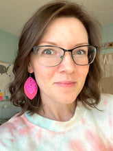 Load image into Gallery viewer, Metallic Fuchsia Leopard Print Leather Earrings- Double Layer Leaf & Fringe Petal Shape Options