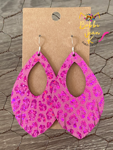 Metallic Fuchsia Leopard Print Leather Earrings- Double Layer Leaf & Fringe Petal Shape Options