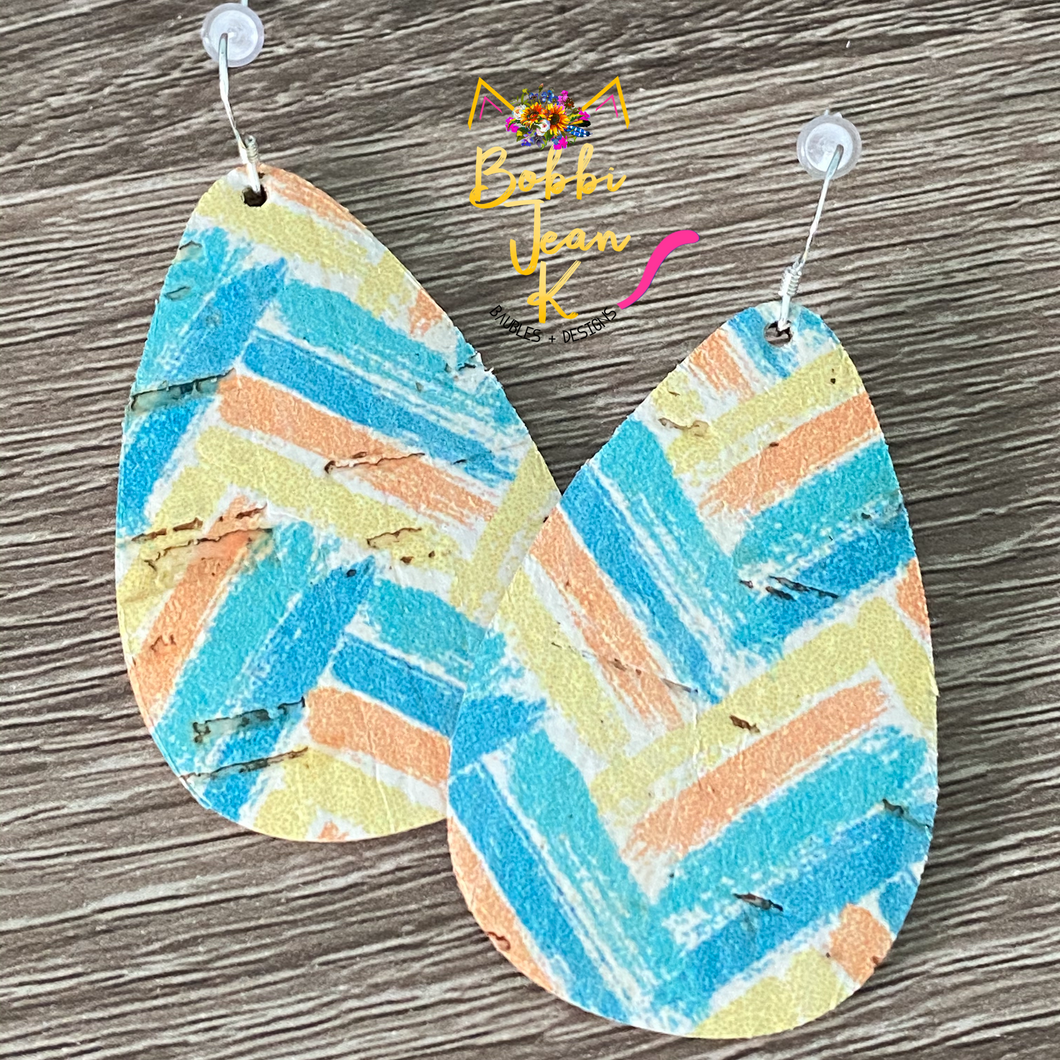 Teal/Yellow/Orange Chevron Brushstroke Rounded Teardrops