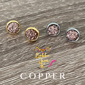 Copper Faux Druzy Studs 8mm: Choose Silver or Gold Settings