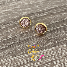 Load image into Gallery viewer, Copper Faux Druzy Studs 8mm: Choose Silver or Gold Settings