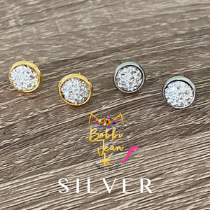 Silver Faux Druzy Studs 8mm: Choose Silver or Gold Settings