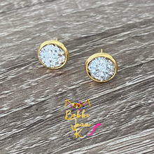 Load image into Gallery viewer, Silver Faux Druzy Studs 8mm: Choose Silver or Gold Settings