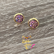 Load image into Gallery viewer, Chocolate Multi Faux Druzy Studs 8mm: Choose Silver or Gold Settings