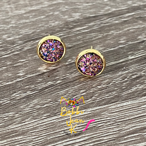 Chocolate Multi Faux Druzy Studs 8mm: Choose Silver or Gold Settings