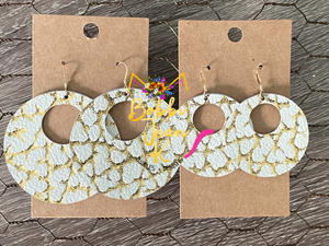 "Gold & White ""Mini Dinosaur"" Print Hoops"