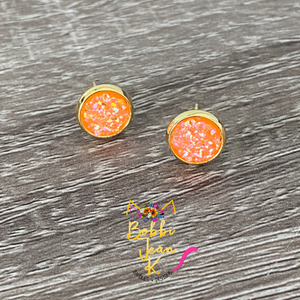 Orange Frosted Sparkle Faux Druzy Studs 8mm: Choose Silver or Gold Settings