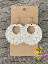 "Load image into Gallery viewer, Rose Gold & White ""Mini Dinosaur"" Print Hoops"
