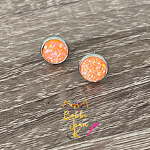 Load image into Gallery viewer, Orange Frosted Sparkle Faux Druzy Studs 8mm: Choose Silver or Gold Settings
