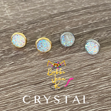 Load image into Gallery viewer, Crystal Faux Druzy Studs 8mm: Choose Silver or Gold Settings