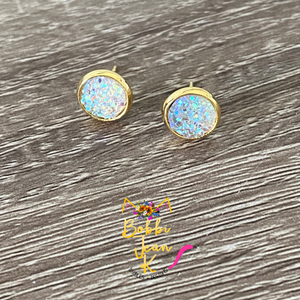 Crystal Faux Druzy Studs 8mm: Choose Silver or Gold Settings