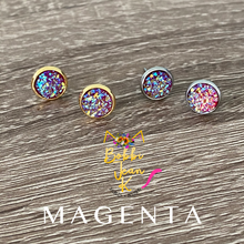 Load image into Gallery viewer, Magenta Faux Druzy Studs 8mm: Choose Silver or Gold Settings