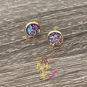 Magenta Faux Druzy Studs 8mm: Choose Silver or Gold Settings