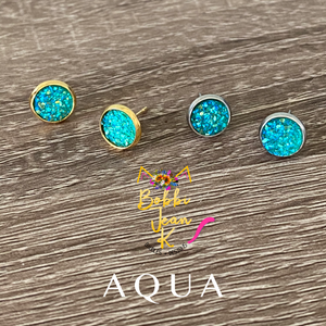 Aqua Faux Druzy Studs 8mm: Choose Silver or Gold Settings