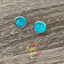 Load image into Gallery viewer, Aqua Faux Druzy Studs 8mm: Choose Silver or Gold Settings