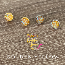 Load image into Gallery viewer, Golden Yellow Faux Druzy Studs 8mm: Choose Silver or Gold Settings
