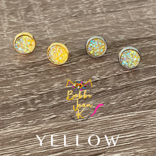Load image into Gallery viewer, Yellow Faux Druzy Studs 8mm: Choose Silver or Gold Settings