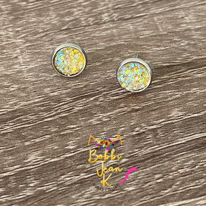 Yellow Faux Druzy Studs 8mm: Choose Silver or Gold Settings