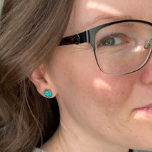 Load image into Gallery viewer, Green Faux Druzy Studs 8mm: Choose Silver or Gold Settings