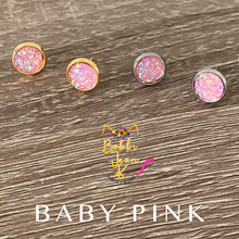 Load image into Gallery viewer, Baby Pink Faux Druzy Studs 8mm: Choose Silver or Gold Settings