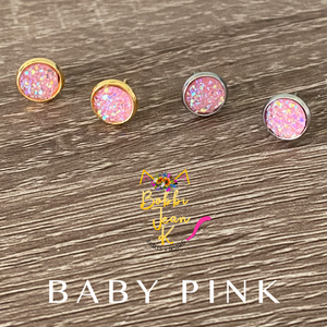 Baby Pink Faux Druzy Studs 8mm: Choose Silver or Gold Settings