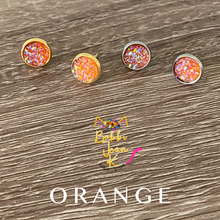 Load image into Gallery viewer, Orange Faux Druzy Studs 8mm: Choose Silver or Gold Settings