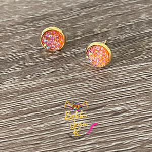 Orange Faux Druzy Studs 8mm: Choose Silver or Gold Settings
