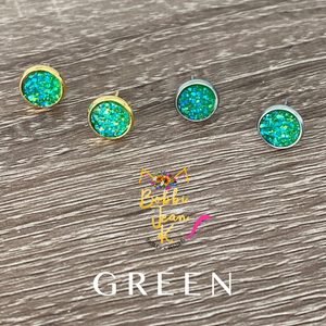 Green Faux Druzy Studs 8mm: Choose Silver or Gold Settings