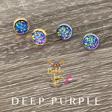 Load image into Gallery viewer, Deep Purple Faux Druzy Studs 8mm: Choose Silver or Gold Settings